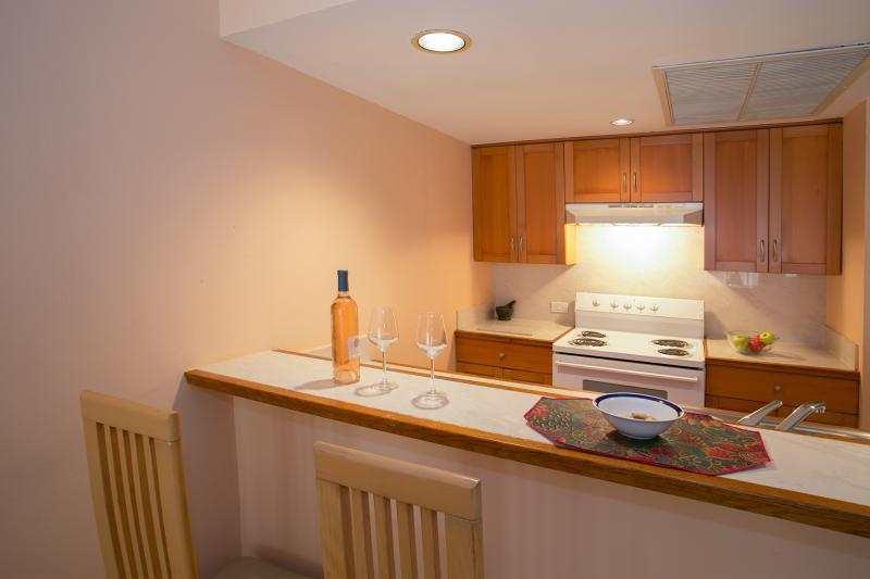 kitchen and bar.