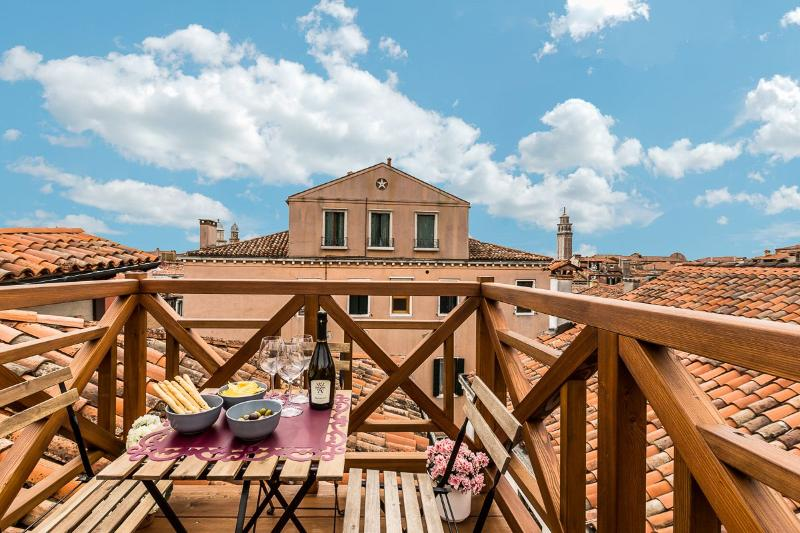 enjoy the view from the roof-top terrace of the Guardi apartment in Dorsoduro