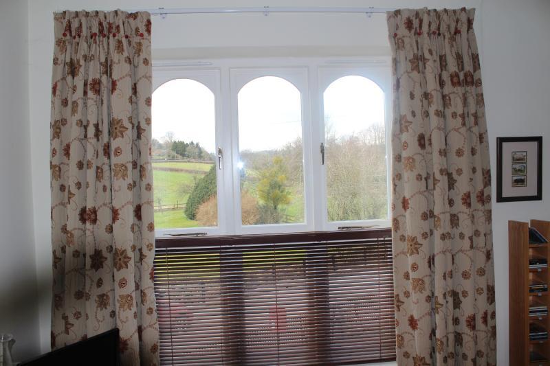 2 ampie finestre con viste su attraverso il paddock e per le montagne nere.