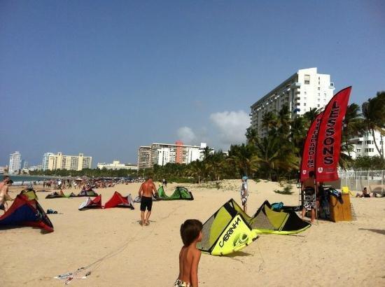 Kite surfen stap vanuit appartement
