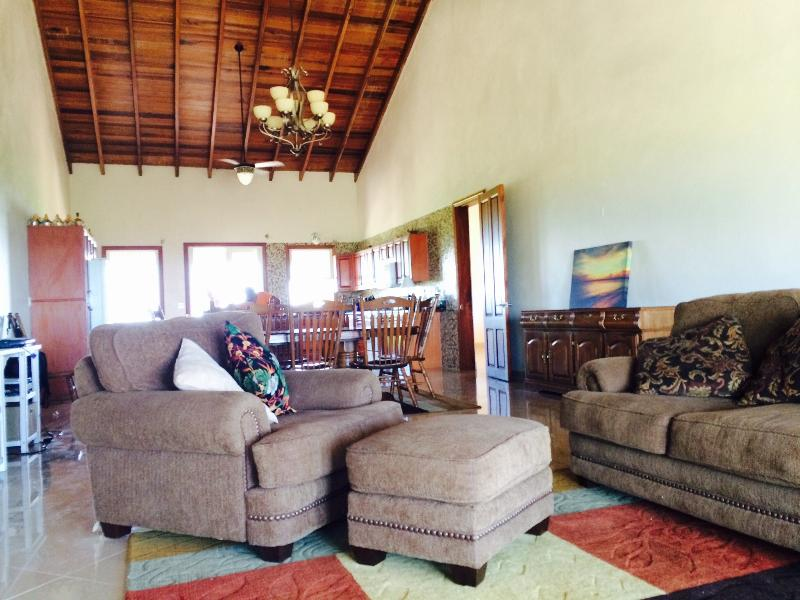 The Villa Dulcinea great room features plush living room furniture, cable TV and high speed wireless
