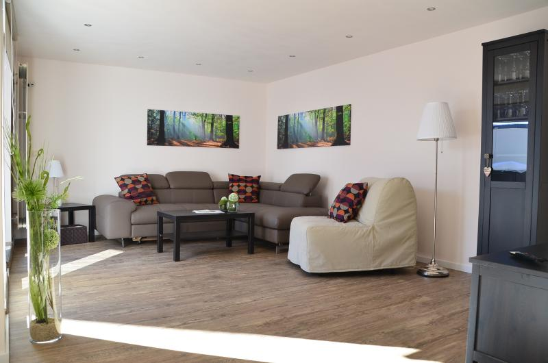 Modern living room with sofa bed
