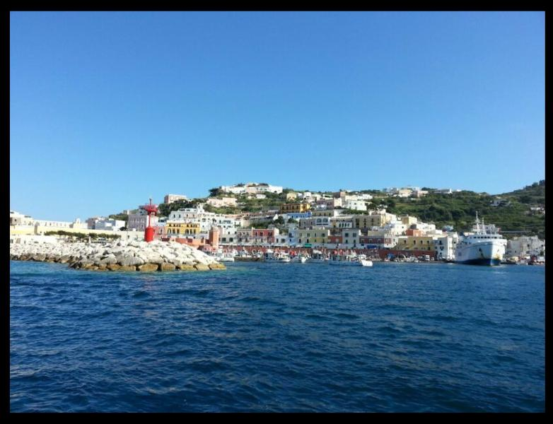 Ponza Island port with ferry boat to Terracina