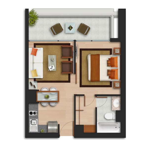 1B1B apartment plan