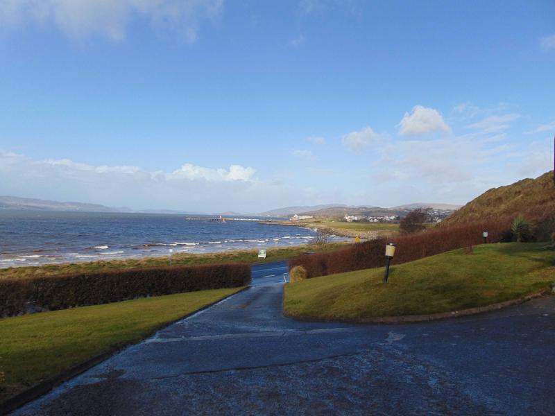 Fabulous view over Lough Swilly from shared garden at front of property