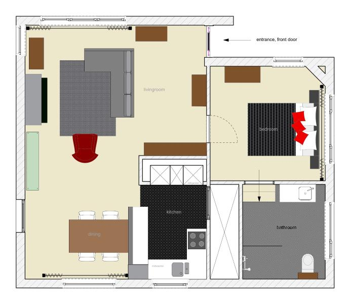 plan de piso, total o 60 m2