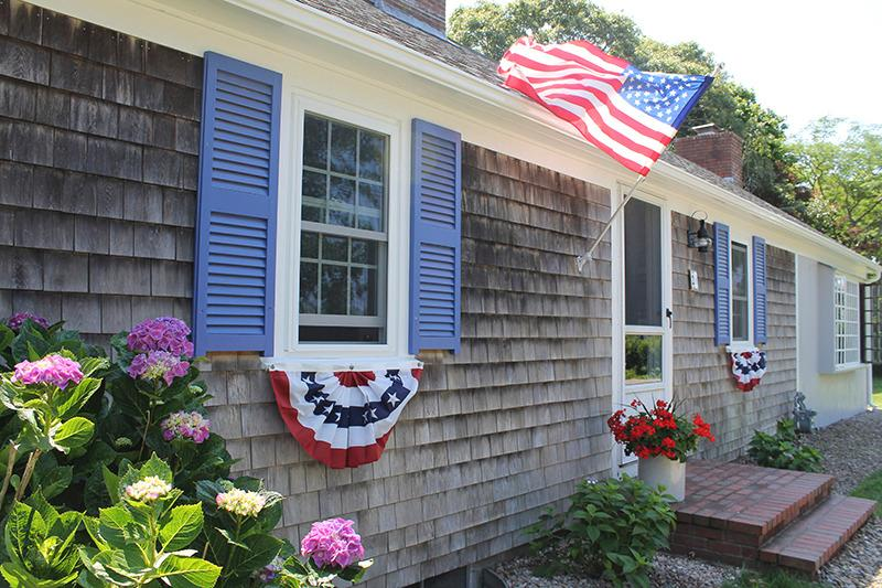 Front of the house decorated for the 4th of July