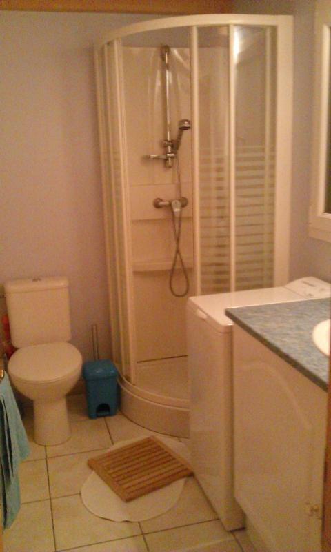 Cabine de douche, lave linge,  tout le confort