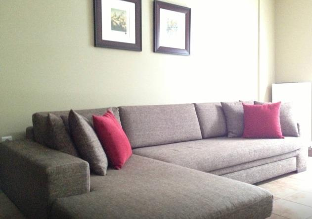 Sectional sofa with double size hide a bed