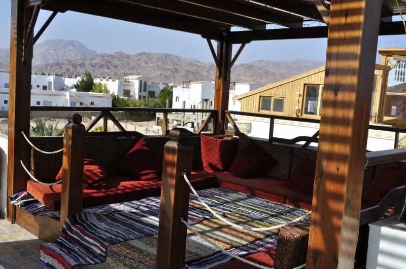 enjoy your coffee,smoking shisha, on the terrace with mountain view