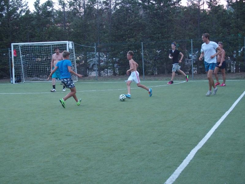 Fun with lots of guests at the onsite football pitch