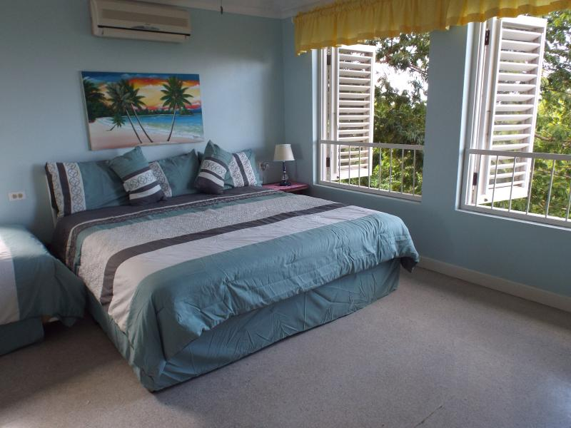 The upstairs bedroom is airy and bright!  A King and a Twin for families!