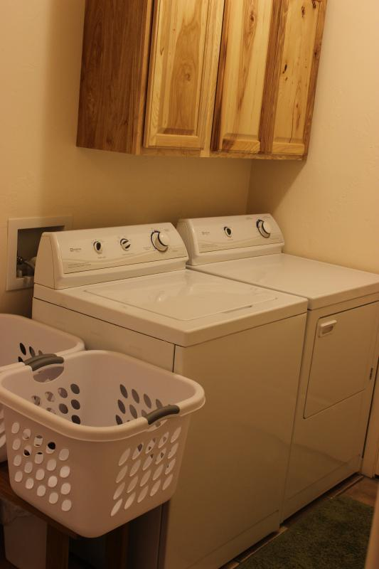 No need to overpack when you have a full size washer and dryer at your disposal!