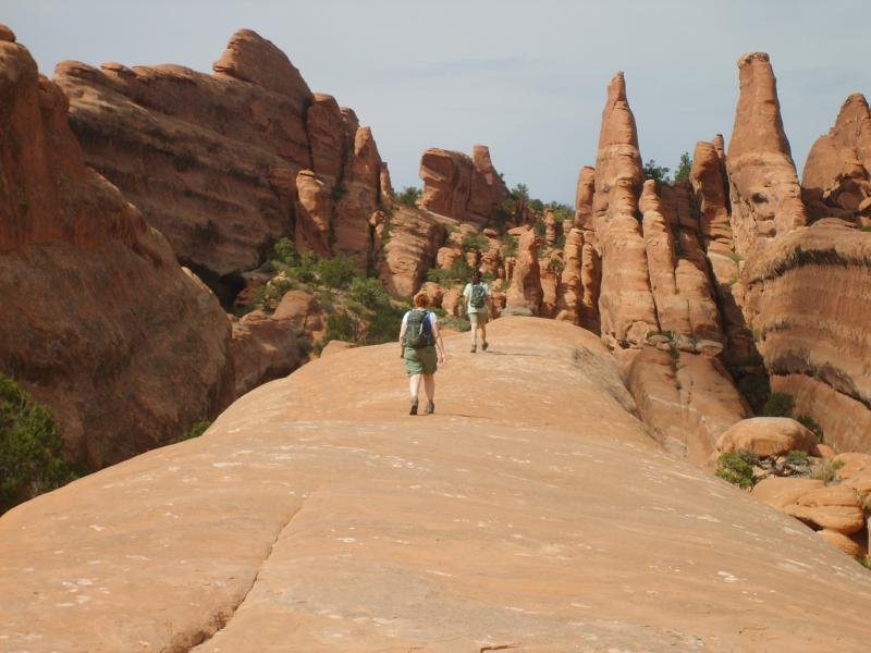 Families of all ages enjoy hiking the fins in Arches National Park.