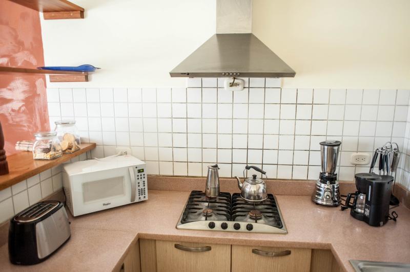 cocina con tostadora, licuadora cafetera y microondas.