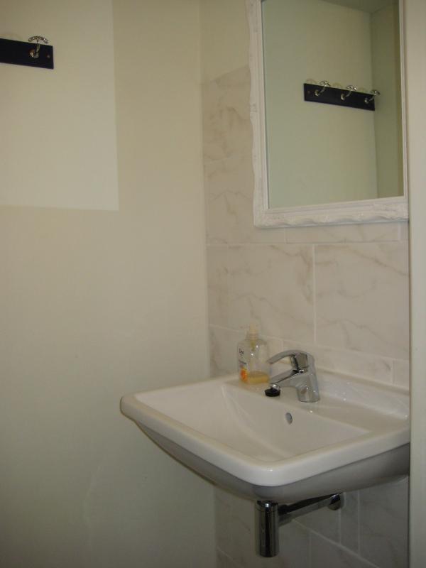 badkamer met douche en toilet (en suite) bij groene kamer
