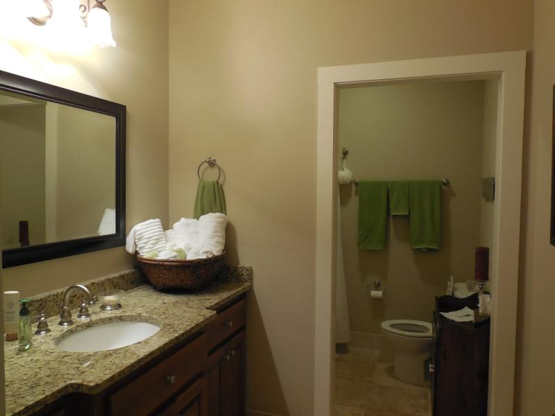 Guest bath is nice and large for two people.