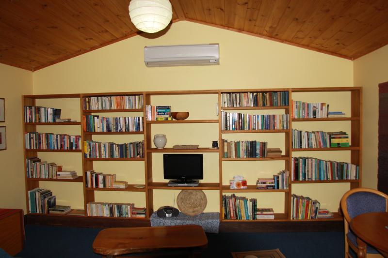 salón con una gran biblioteca