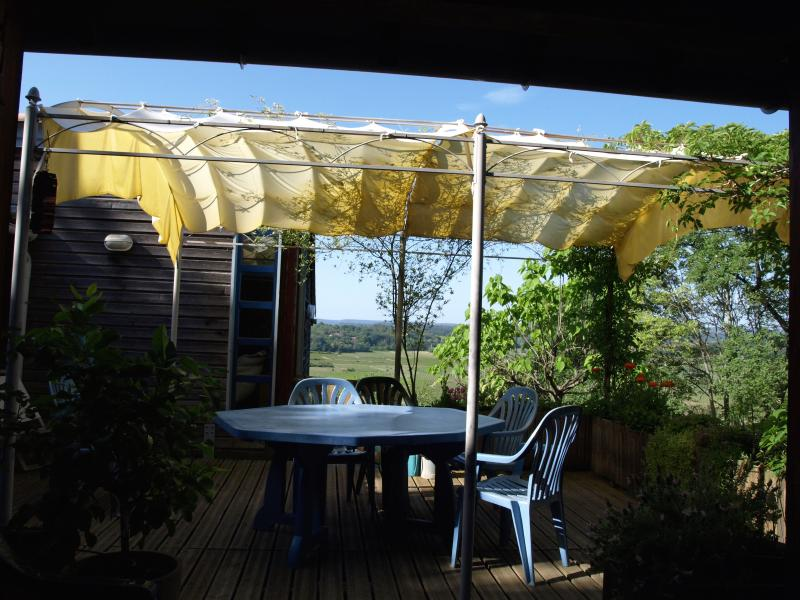 The deck leading off from the kitchen