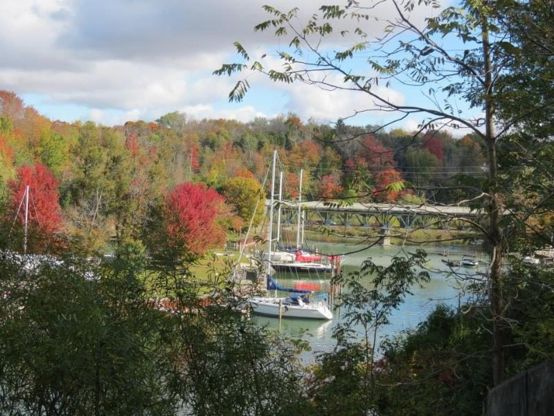 Bayfield river with three marinas
