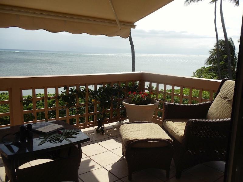 Master balcony with power shade awning