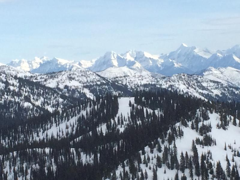 A quick peek towards Glacier National Park from the top of Whitefish Mountain.