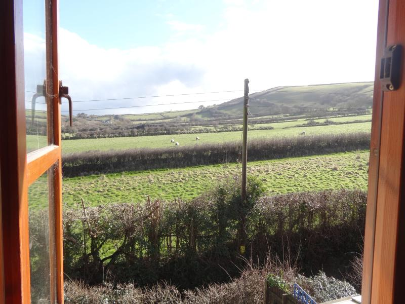 Rear rooms view - hills/sheep/horses over to saunton