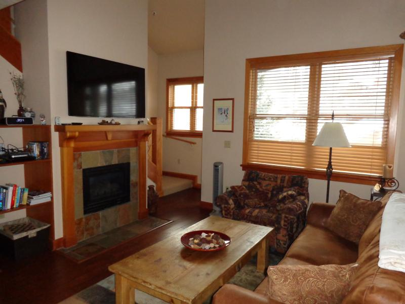 Living Room with Fireplace and 55 inch HDTV