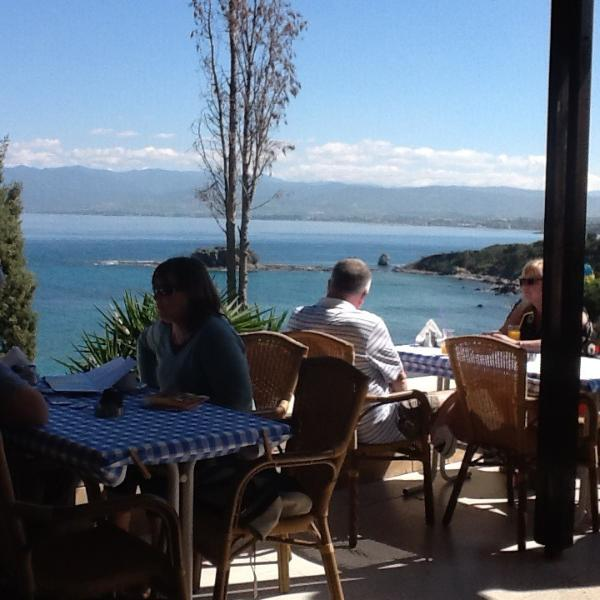 Beautiful views across Chrysochou Bay from Aphrodite Beach Restaurant. Approx 5km from apartment