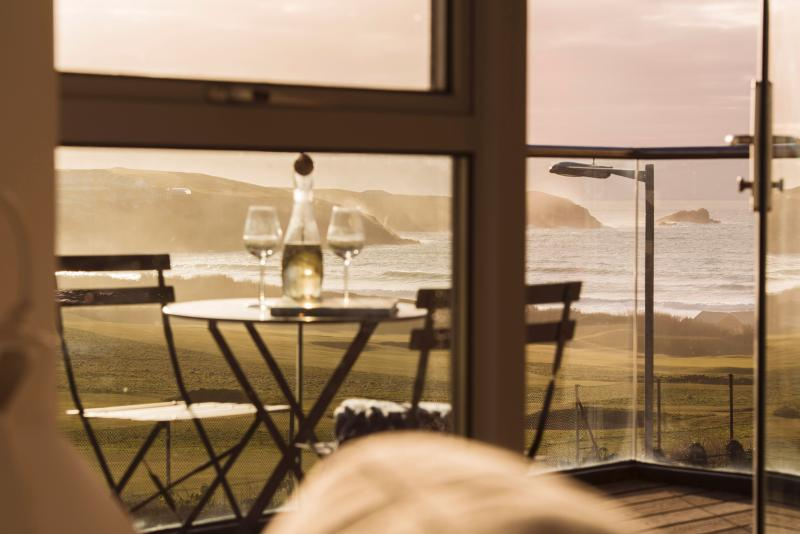 View of the golf course and Fistral Beach from the balcony