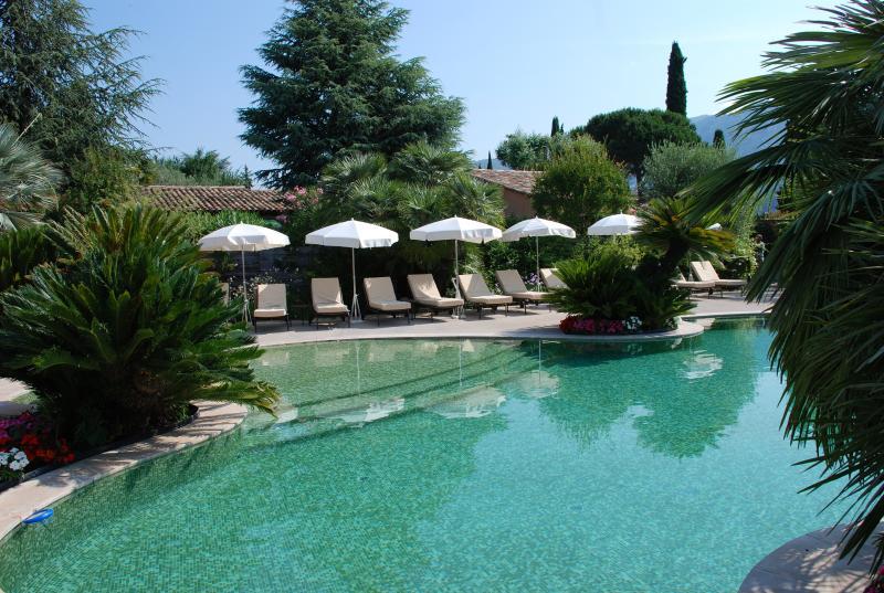 Laguna-zwembad 20 m x 9 m met zachte helling, smeedijzeren ligstoelen