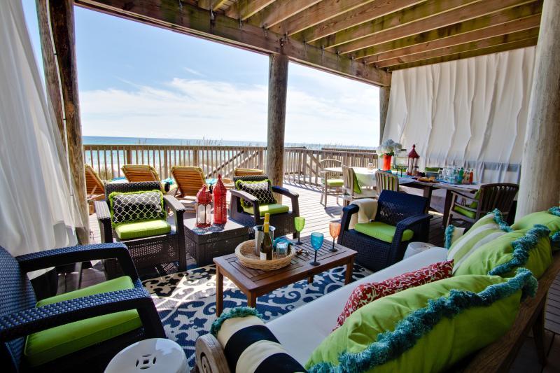 Spacious, comfortable, private beach level deck