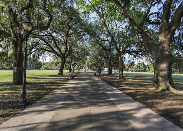 Forsyth Park is just down the street