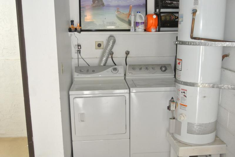 Washer and dryer in private attached garage