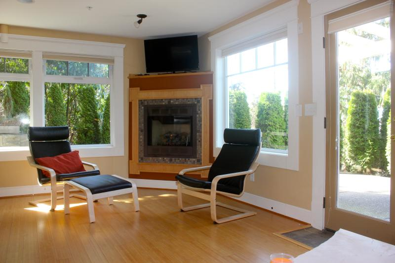 The other half of the living room, with gas fireplace, flat screen tv, and lots of natural light. So