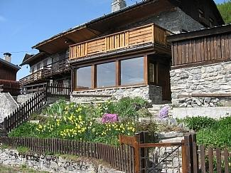 The front of the chalet in summer. This is usually covered in snow in winter!