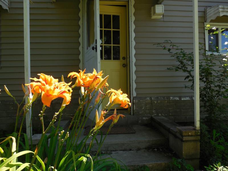 Back door mid-summer, COTTAGE BUNGALOW rental home.