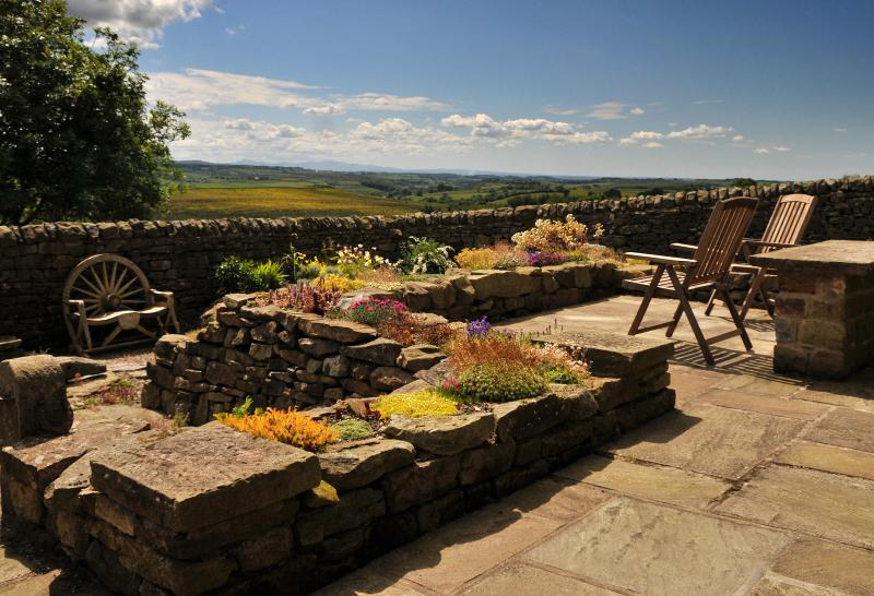 Spectacular views from the patio, stretching from Hadrians Wall to the Lake District & Scotland.