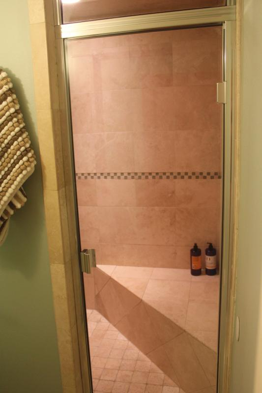 Fully enclosed, large shower that also becomes a steam room