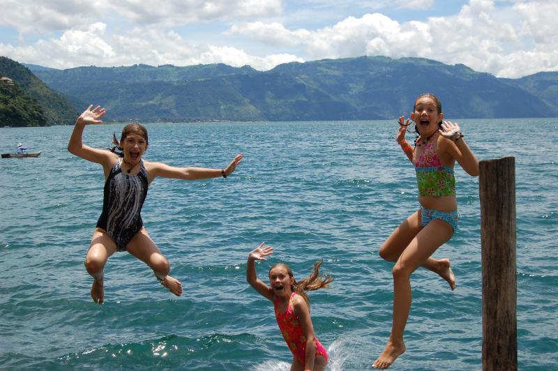 Having fun swimming in the lake