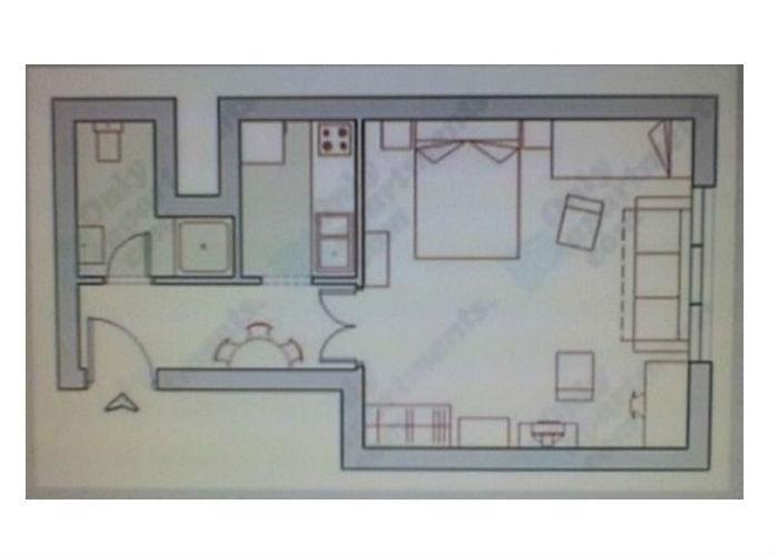 The groundplan of the 1 room flat.