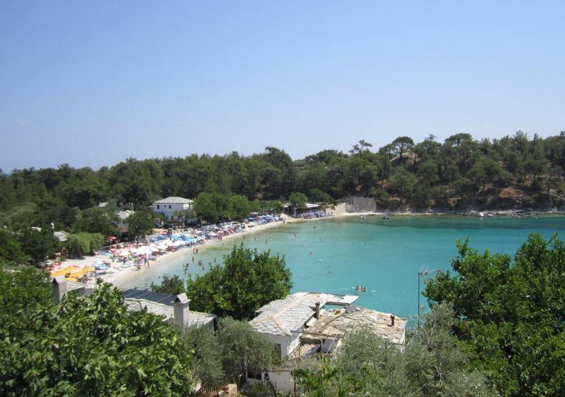 view of a beach area on the island of Thasos which is a short ferry boat ride from Kavala