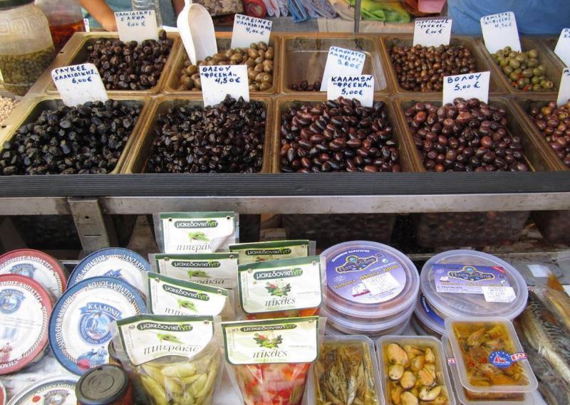 large variety of Greek olives