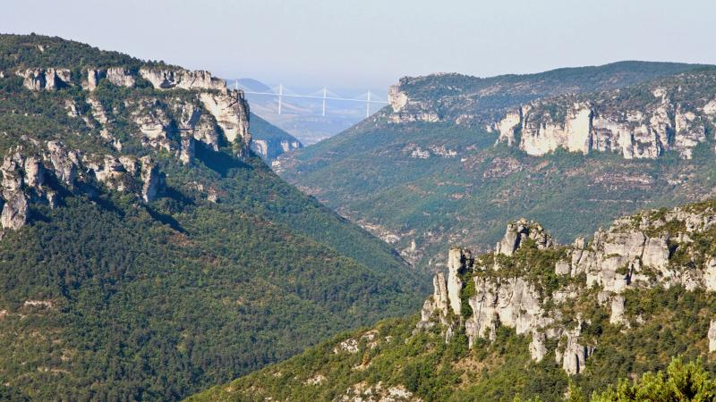 The Millau viaduct from the Rajol cornices a hikes near the cottage