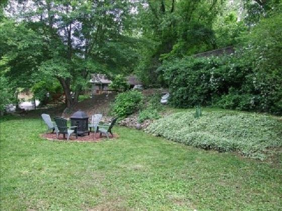 Sunken Garden has FirePit, Blueberry Bushes and CHILDRENS TREEHOUSE with Swings, Slide, Picnic Table