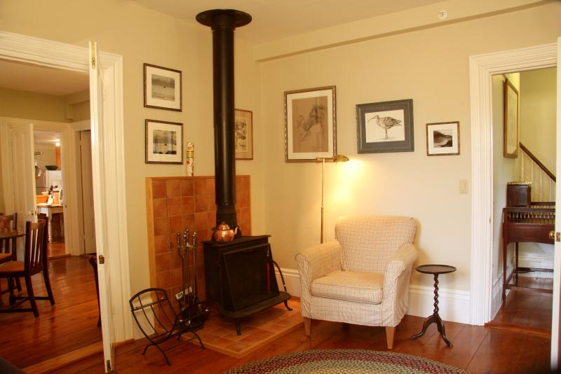 The wood stove in the Living Room