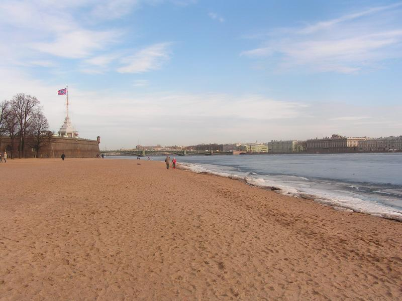 In summer you can sunbathe on the beach near the Peter and Paul For and the front of the Hermitage