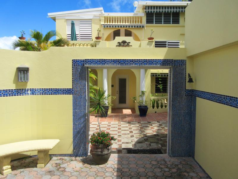 Tiles surround the entrance to Las Terrazas