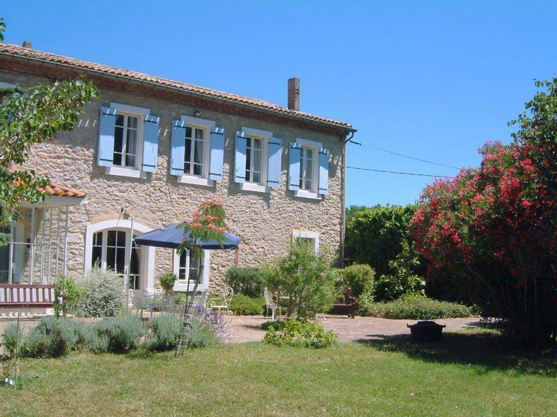 The Façade, La Florette. An early picture taken from the lawn. Bushes have now grown to give shade.