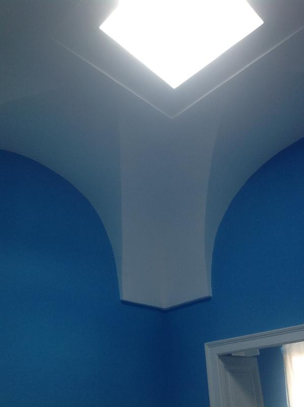 entrance living-vaulted ceiling with skylight